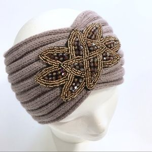 Accessories - Lavender Knitted & Beaded Headband/Head warmer